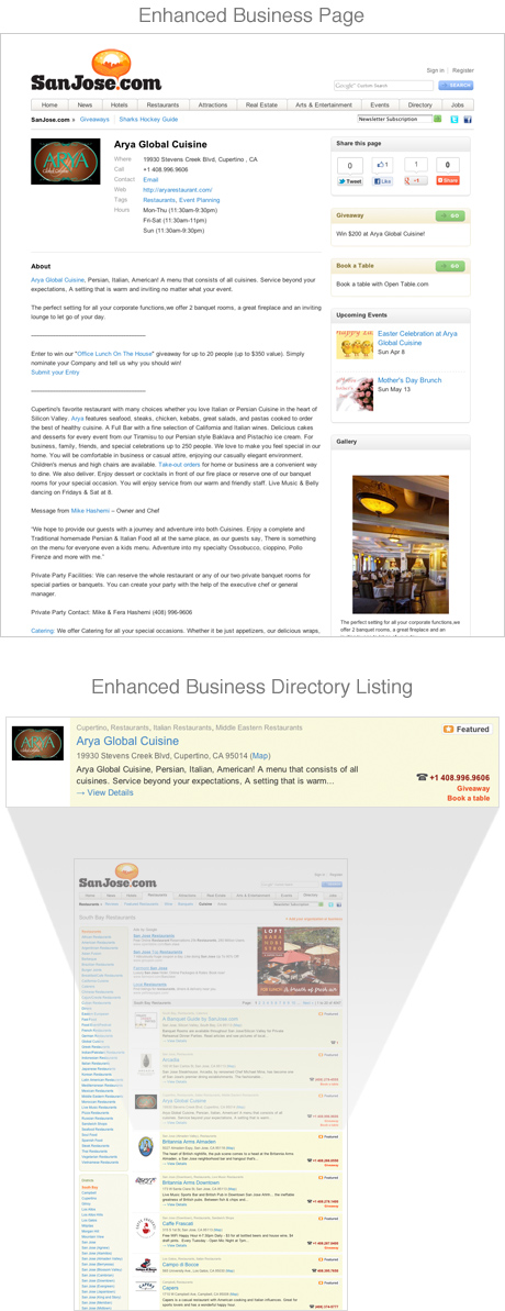 Enhanced Business Page
